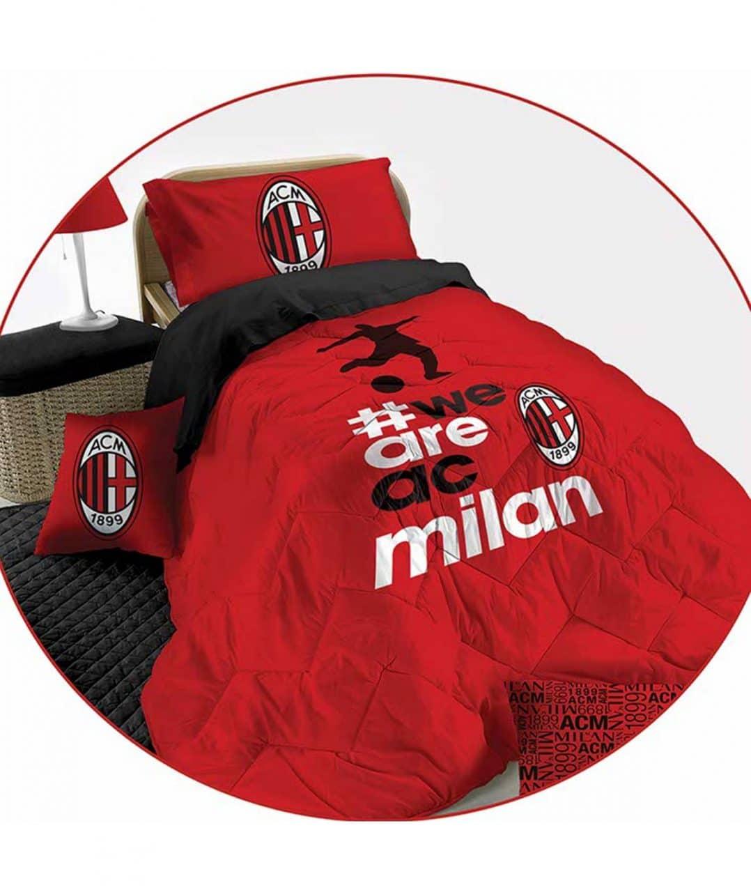 Copripiumino Milan Singolo.Trapunta Piumone Microfibra Ac Milan Ufficiale Letto Singolo 1