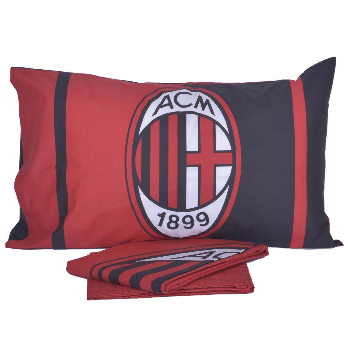 Completo Letto Lenzuola AC Milan Ufficiale Letto singolo 1 Piazza